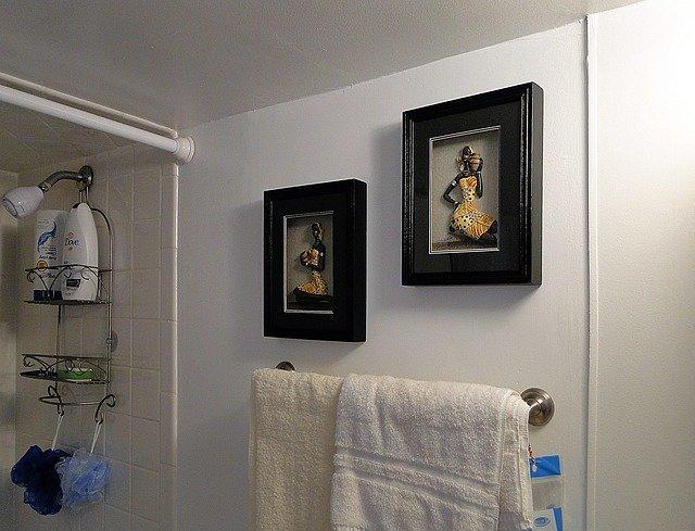 drying towels in bathroom