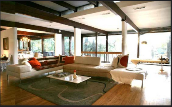 Mid century modern living room that saves electricity